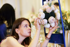 Making bride bouquet stock photography