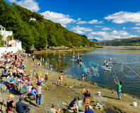 Making bubbles, Portmeirion beach Royalty Free Stock Image