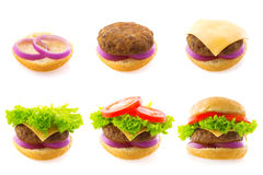 Making burger. Process making of burger, step by step isolated on white Royalty Free Stock Photography
