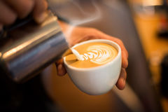Making of cafe latte art Royalty Free Stock Images