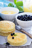 Making a cake, sponge layers, frosting and berries Royalty Free Stock Image