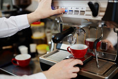 Making cappuccino royalty free stock image
