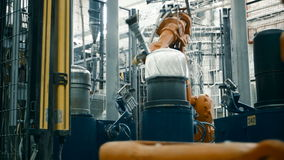 Making of carbon plastic at the plant. A robot is making carbon fiber stock video footage