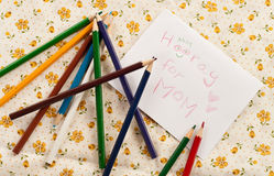 Making a Card for Mommy Stock Images