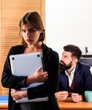 Making career in male club office. Woman working in mostly male workplace. Woman attractive working with men. Office. Collective concept. Sexual attraction royalty free stock photography