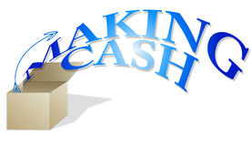 Making Cash. The phrase making cash flying out of an illustrated box vector illustration