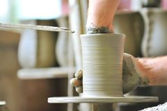 Making of a ceramic vase Stock Images