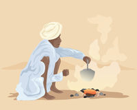 Making chai. An illustration of an indian man making chai over a fire outside in a desert landscape Stock Photography