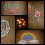 Making chalk art and decorating with tea light candle