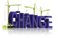 Making a change different evolution. Tower cranes creating 3D word making a change mke things different grow evolve achieve growth and evolution Stock Image