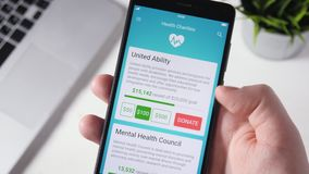 Making Charity Donation To Health Organization Using Smartphone App