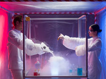 Making chemicals mix in a sterile chamber Stock Image