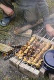 Making Chicken Kebab Royalty Free Stock Image