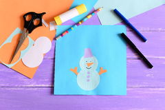 Making a children winter paper cards. Step. Paper snowman applique, scissors, markers, pencil, glue stick, colored paper set Stock Photography