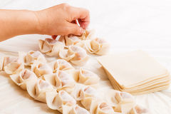 Making of Chinese dumpling Stock Images