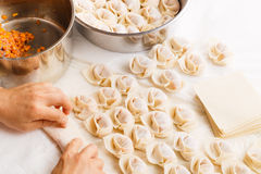 Making of Chinese dumpling Royalty Free Stock Image