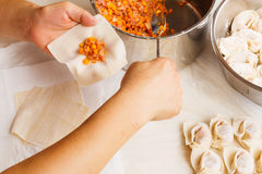 Making of Chinese dumpling Stock Photos
