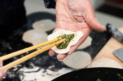 Making chinese dumpling Royalty Free Stock Photos
