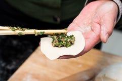 Making chinese dumpling Royalty Free Stock Photo