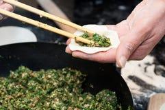 Making chinese dumpling Royalty Free Stock Photography