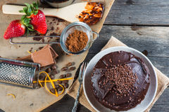Making chocolate cake, view from above Royalty Free Stock Photography
