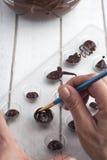 Making chocolate candies Stock Photo