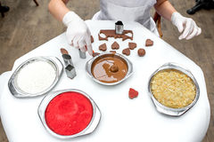 Making chocolate candy Stock Images