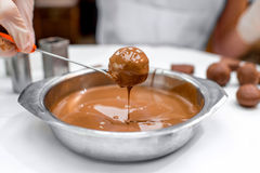 Making chocolate candy Royalty Free Stock Image