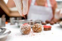 Making chocolate candy Stock Photo