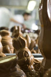 Making chocolate figurines in a bakery. stock image