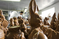 Making chocolate figurines in a bakery. Stock Photo