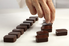 Making chocolates Royalty Free Stock Photography