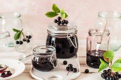 Canning Chokeberry Jam. Making Chokeberry Jam, Canning Aronia Preserves royalty free stock photos