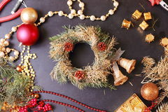 Making christmas advent wreath Royalty Free Stock Photo
