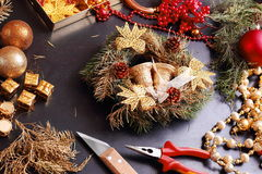 Making christmas advent wreath Royalty Free Stock Photography