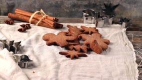 Making christmas cookies stock video footage