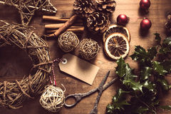 Making Christmas decoration on wooden table Stock Photography