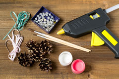 Free Making Christmas Decorations From Pine Cones. Step 1 Stock Photography - 78756772