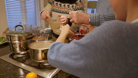 Making Christmas Dinner. Little boy is helping his father and grandfather make a Christmas dinner stock footage