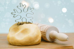 Making Christmas snowflake cookies Stock Photo