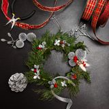 Making Christmas wreath Royalty Free Stock Photos