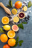 Making citrus smoothies and drinks. Ingredients for summer citrus smoothies and drinks royalty free stock photography