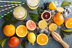 Making citrus smoothies and drinks. Ingredients for summer citrus smoothies and drinks stock image