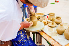 Making Clay Pot Royalty Free Stock Images