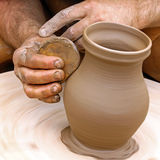 Making clay pottery Royalty Free Stock Images