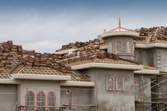 Making Clay Tile Roof Royalty Free Stock Photography