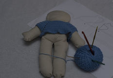 Making a cloth doll royalty free stock photography