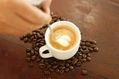 Making coffee art Royalty Free Stock Image