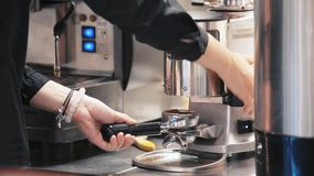 Making coffee in the coffee machine.  stock footage