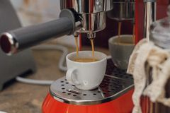 Making coffee in a coffee shop. stock photo